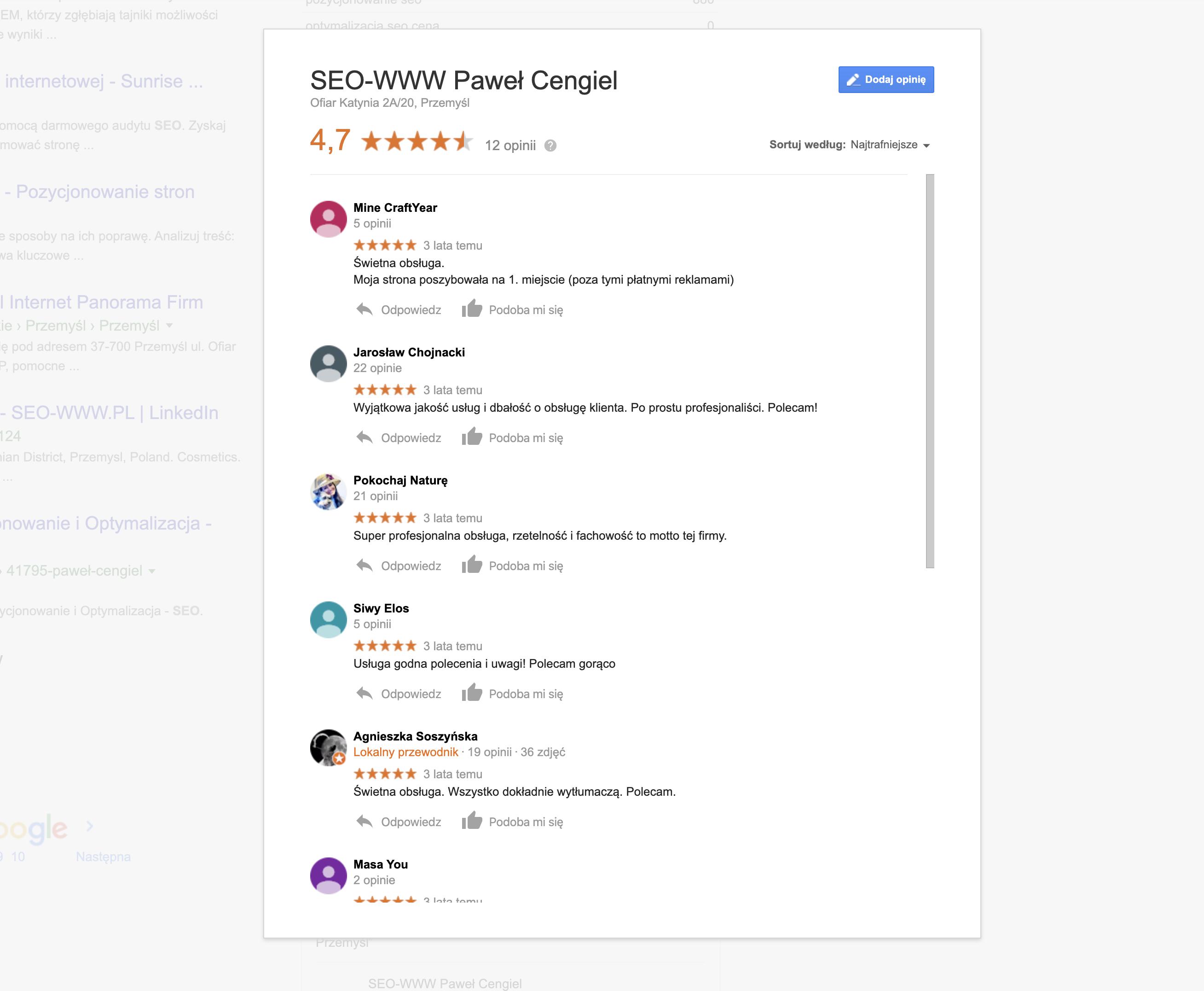 Opinie w wizytówce w Google Moja Firma