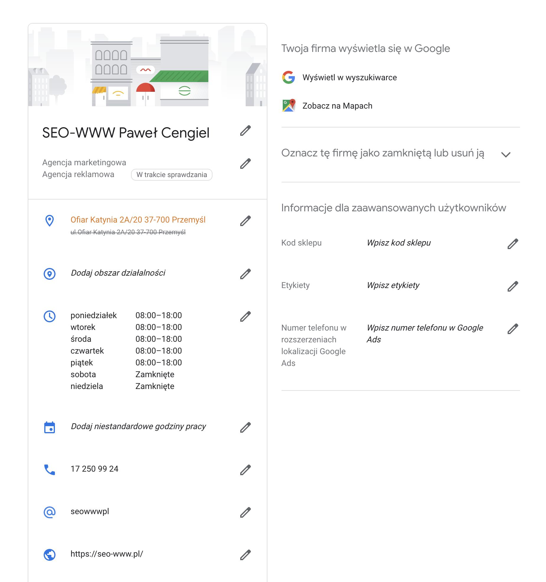 Uzupełniona wizytówka w Google Moja Firma