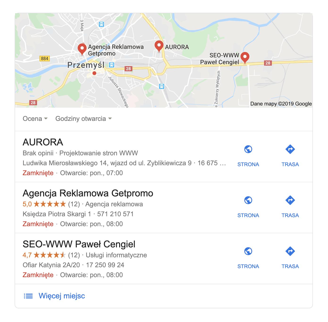 Wizytówka w Google Moja Firma