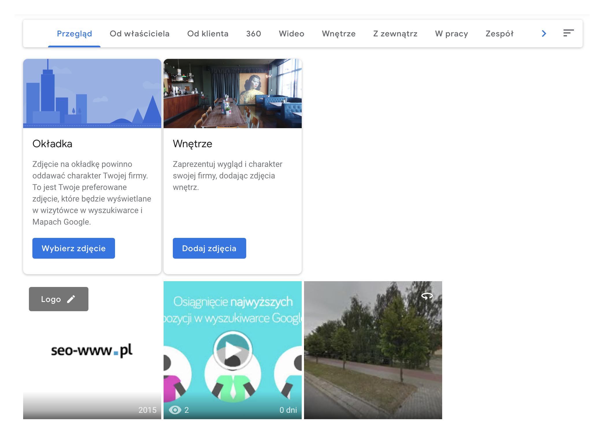 Dodatkowe materiały w wizytówce Google Moja Firma
